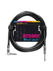 Black Jack instrument cable, 6 meter, 1 rechte en 1 haakse plug
