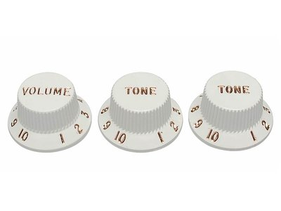 Fender Genuine Replacement Part strat knobs for CTS shaft size, white