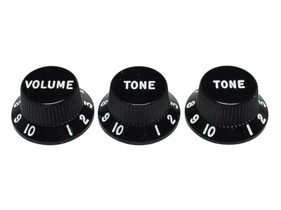 Fender Genuine Replacement Part strat knobs for CTS shaft size, black