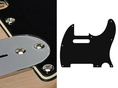 Zwarte slagplaat, Telecaster, 3 ply, black/creme/black, standaard