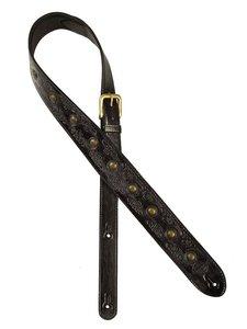 Gaucho Stellar Series gitaarriem, carving and brass buttons, black