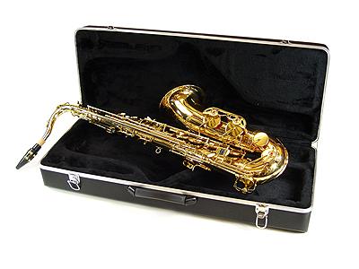 Goudkleurige altsax met koffer, draagband e.d.