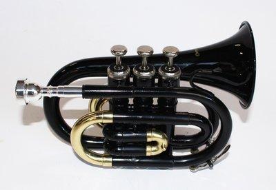 Pocket trompet, zwart met case en boek