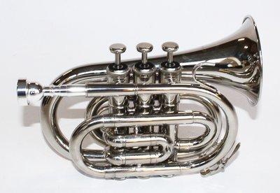 Pocket trompet, zilverkleurig met case en boek