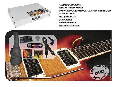 Accessoirepakket voor electrische gitaar, hoes, tuner, plectrums, DVD, riem, snaren, kabel, snaarwinder
